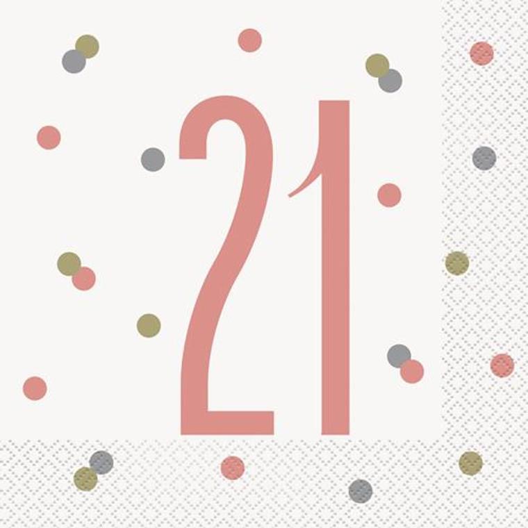 Rose Gold Glitz 21st Birthday Lunch Napkins 16pk