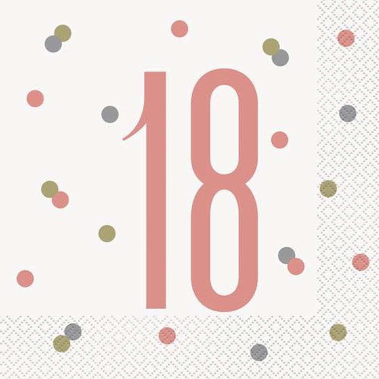 Rose Gold Glitz 18th Birthday Lunch Napkins 16pk