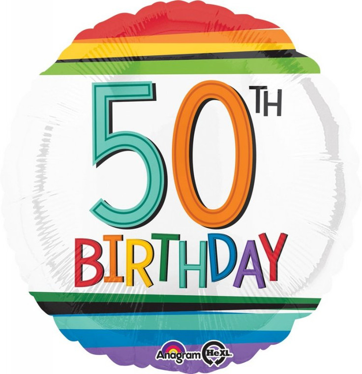 50th Rainbow Birthday Foil Balloon - 45cm