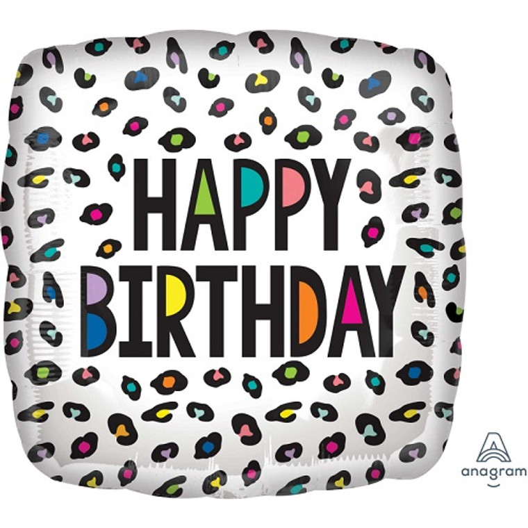 Rainbow Leopard Happy Birthday Foil Balloon - 45cm