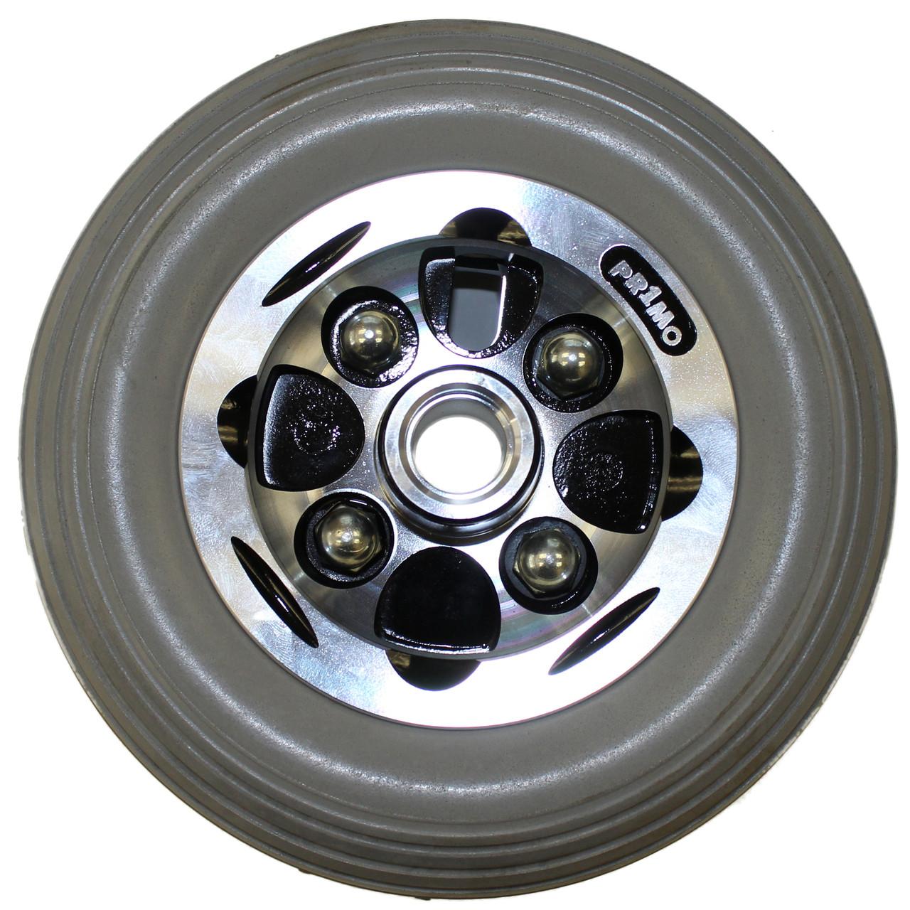 "7"" x 2"" ALLOY CASTER 2 Piece Wheel Urethane Rib Tire"