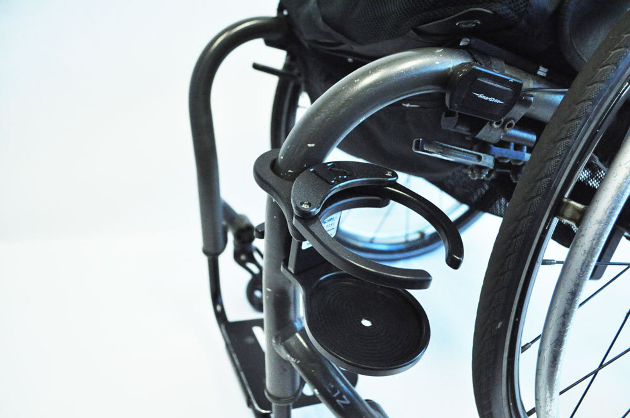Wheelchair Cupholder swings out of the way