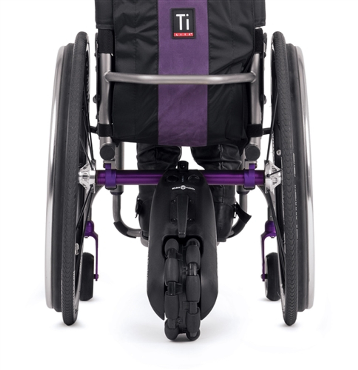 The SmartDrive MX2 mounted behind a wheelchair.