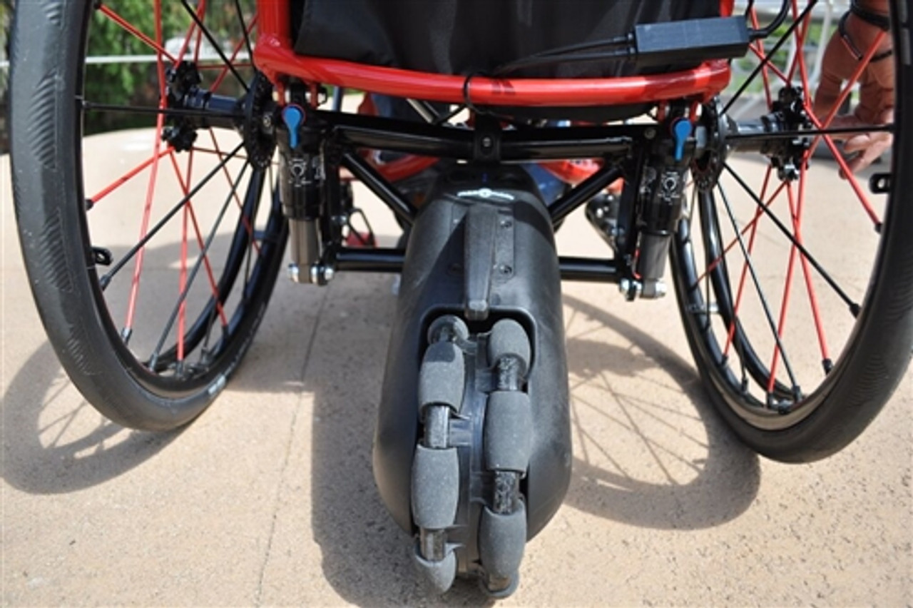 The SmartDrive MX2 can spin a wheelchair in 360 degrees.