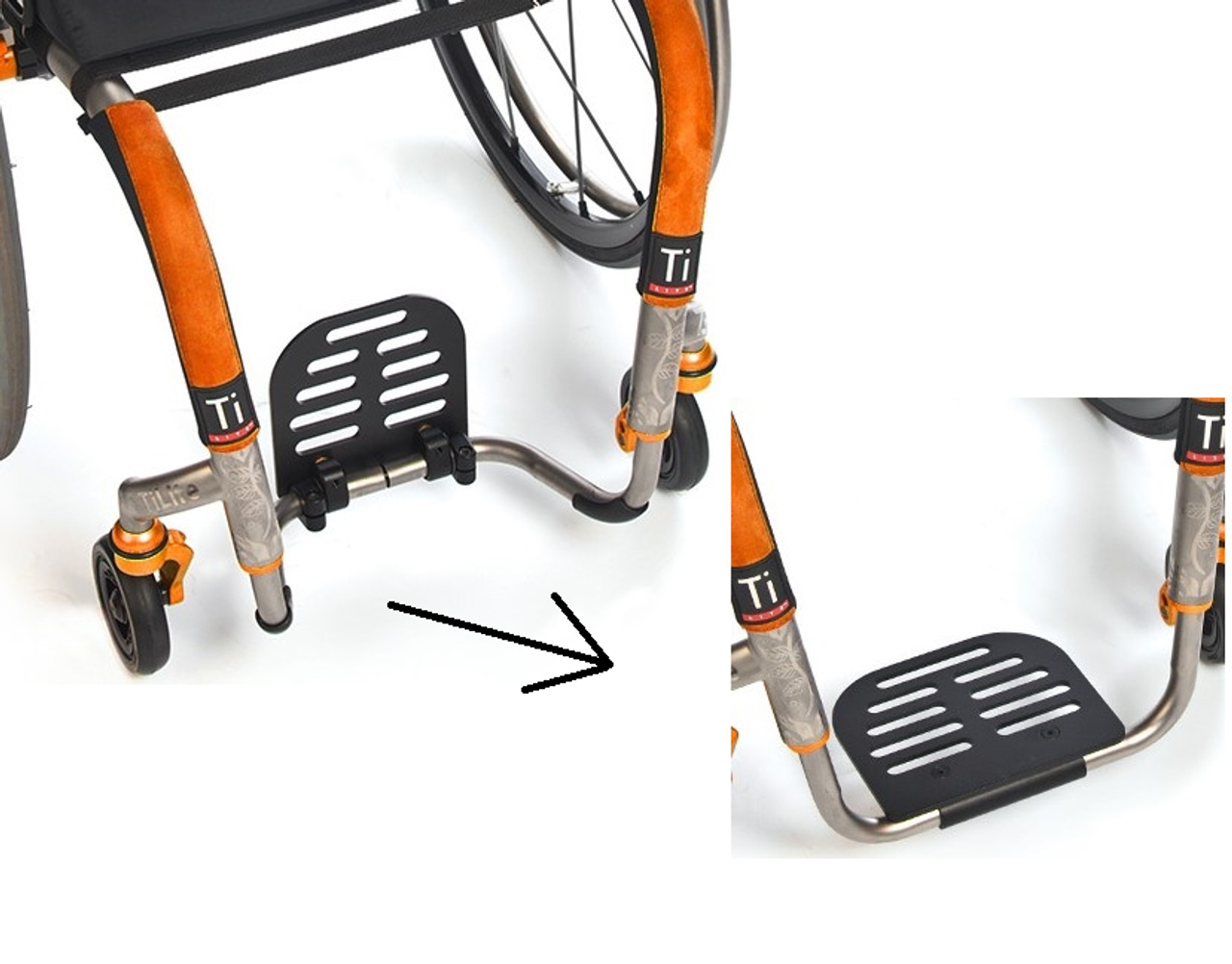 TiLite flip up foot plate to Angle Adjustable Aluminum foot plate conversion Kit ($169)