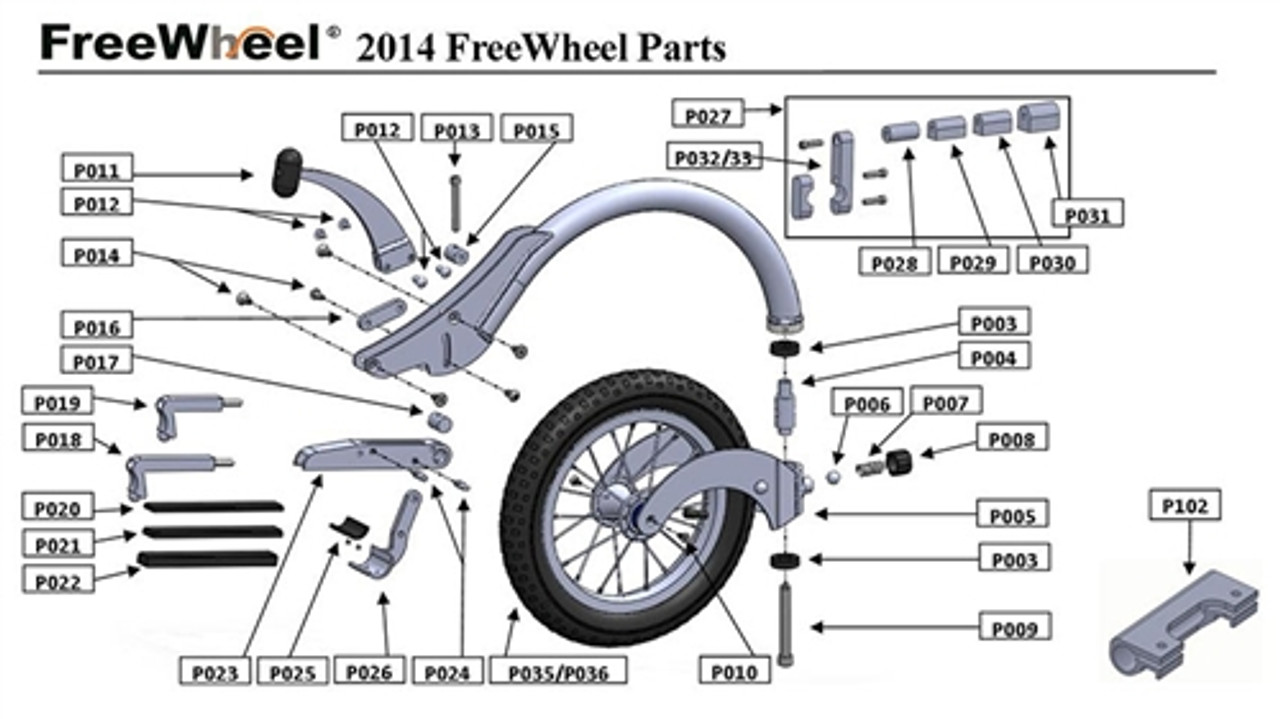 Extra Parts for the FreeWheel Wheelchair Attachment