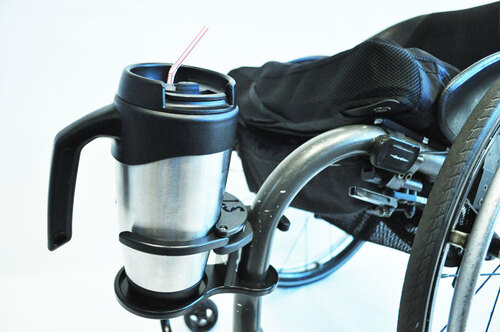 Wheelchair Cupholder with a coffee tumbler