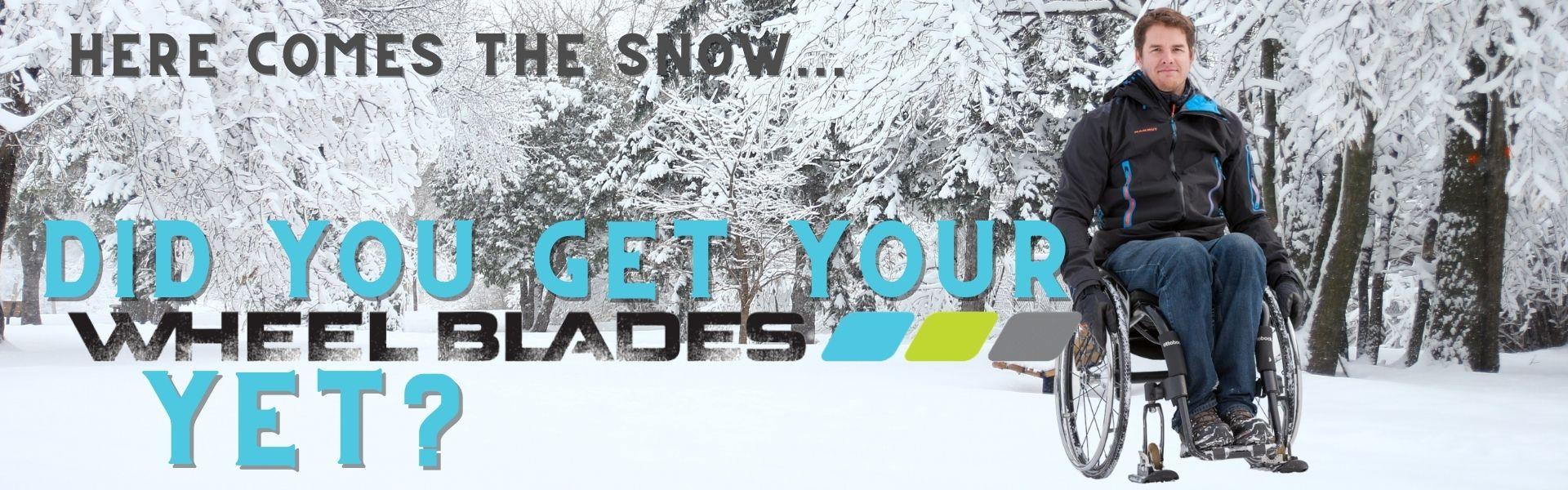 Wheel Blades snow and ice wheelchair skis