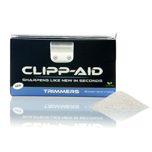 Clipp-Aid® Sharpening Crystals are a unique product for clipper and trimmer maintenance. They both clean and sharpen metal blades to a like-new state in a super-easy procedure that takes less than 2 minutes.