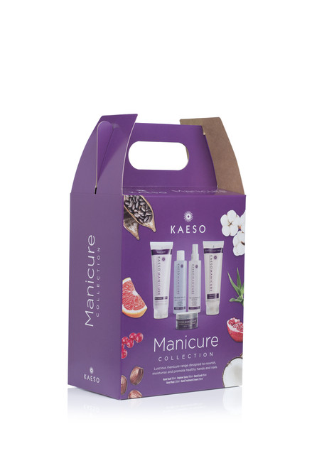 Kaeso's all-encompassing Manicure Kit has everything needed for the perfect hand and nail treatment. Now all wrapped up in a beautiful retail and easy to carry biodegradable carton, it's good for the environment too! 1 x Red Berry Splash, Hand Soak 195ml 1 x Pink Grapefruit Drizzle, Hygiene Spray 195ml 1 x Mulberry & Pomegranate Sorbet, Hand Scrub 95ml 1 x Wild Berry Butter, Hand Mask 250ml 1 x Cranberry Sensation, Hand Treatment Cream 250ml