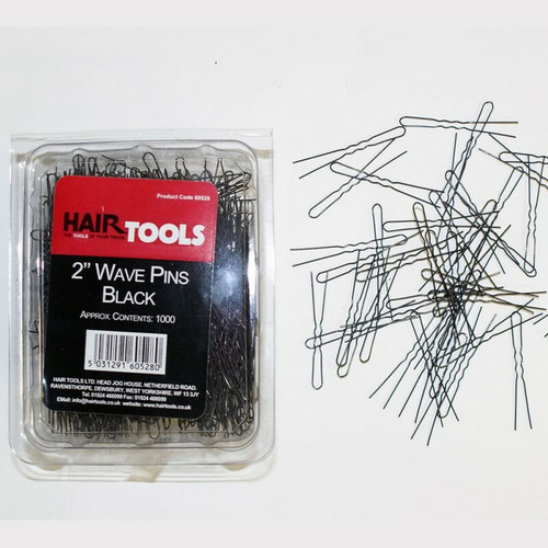 "Hair Tools 2.5"" Waved Pins Black 1000"