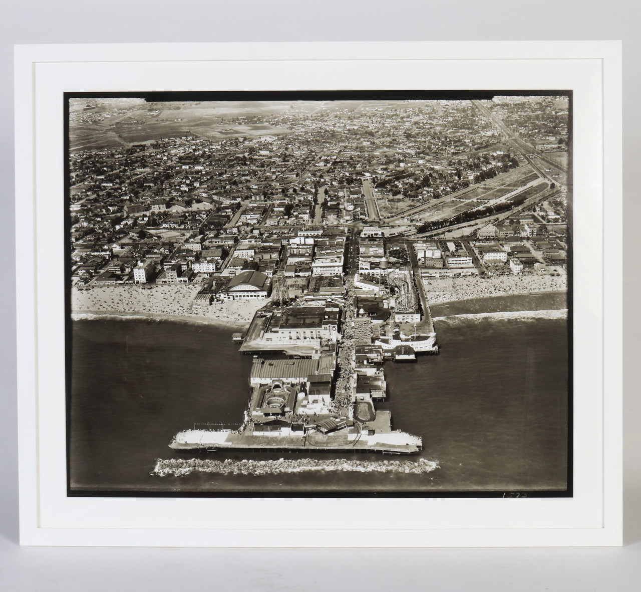 Aerial Photograph of the Original Venice Pier, circa 1930, Framed - IN STOCK