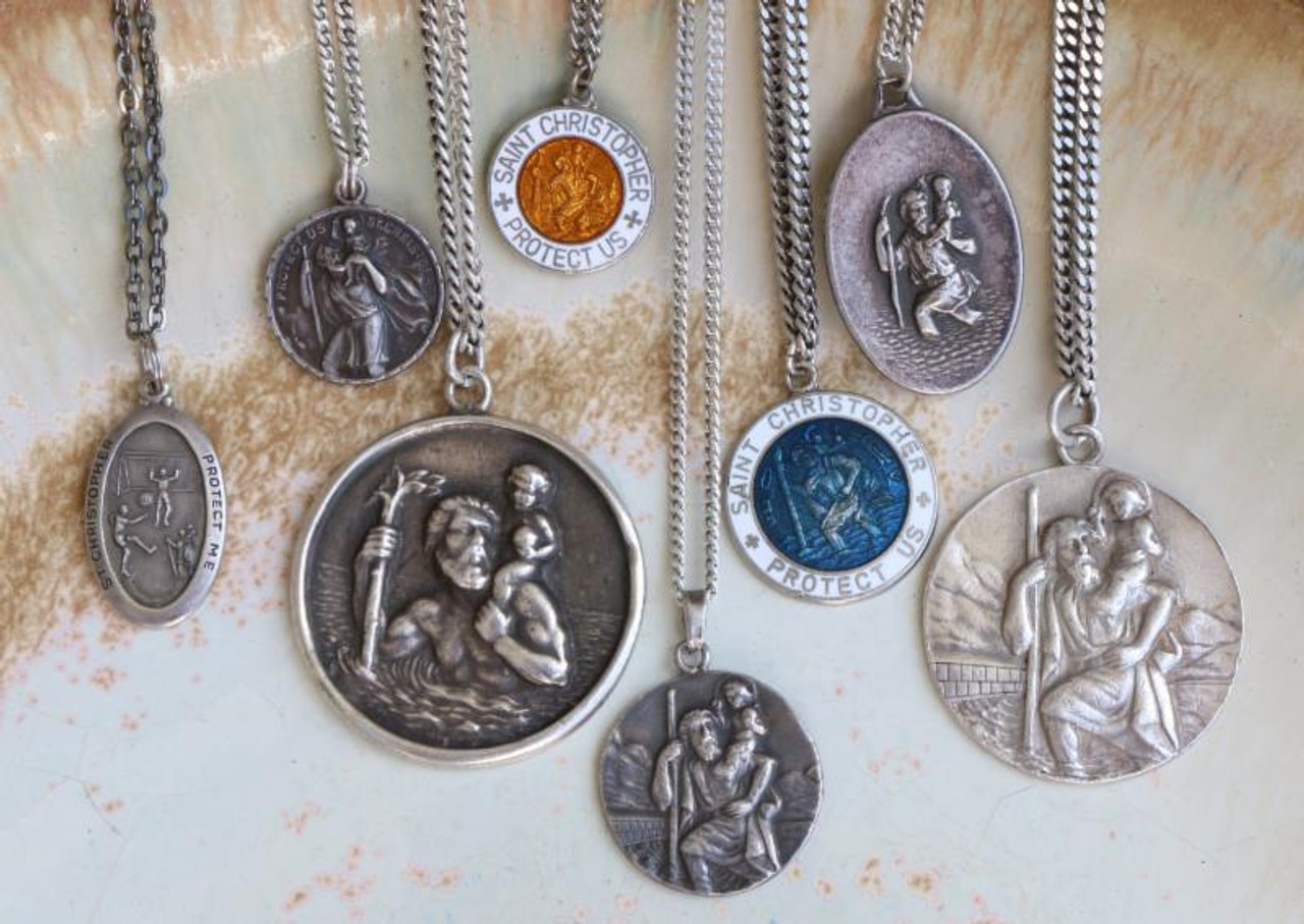 These St Christophers are seriously sought after protective amulets of surfers & travelers. Featuring the demoded St. Christopher, these medals are regarded as safety insurance and tokens of rebellion. Get a glimpse of these special specimens, click for a closer look at the details you won't want to miss. Slip one of these over the neck of the one you love, like a 1960's freshman, or taking it into the waves yourself.  Our inventory is always changing so please contact us and we'll let you know what pendants we have in stock.