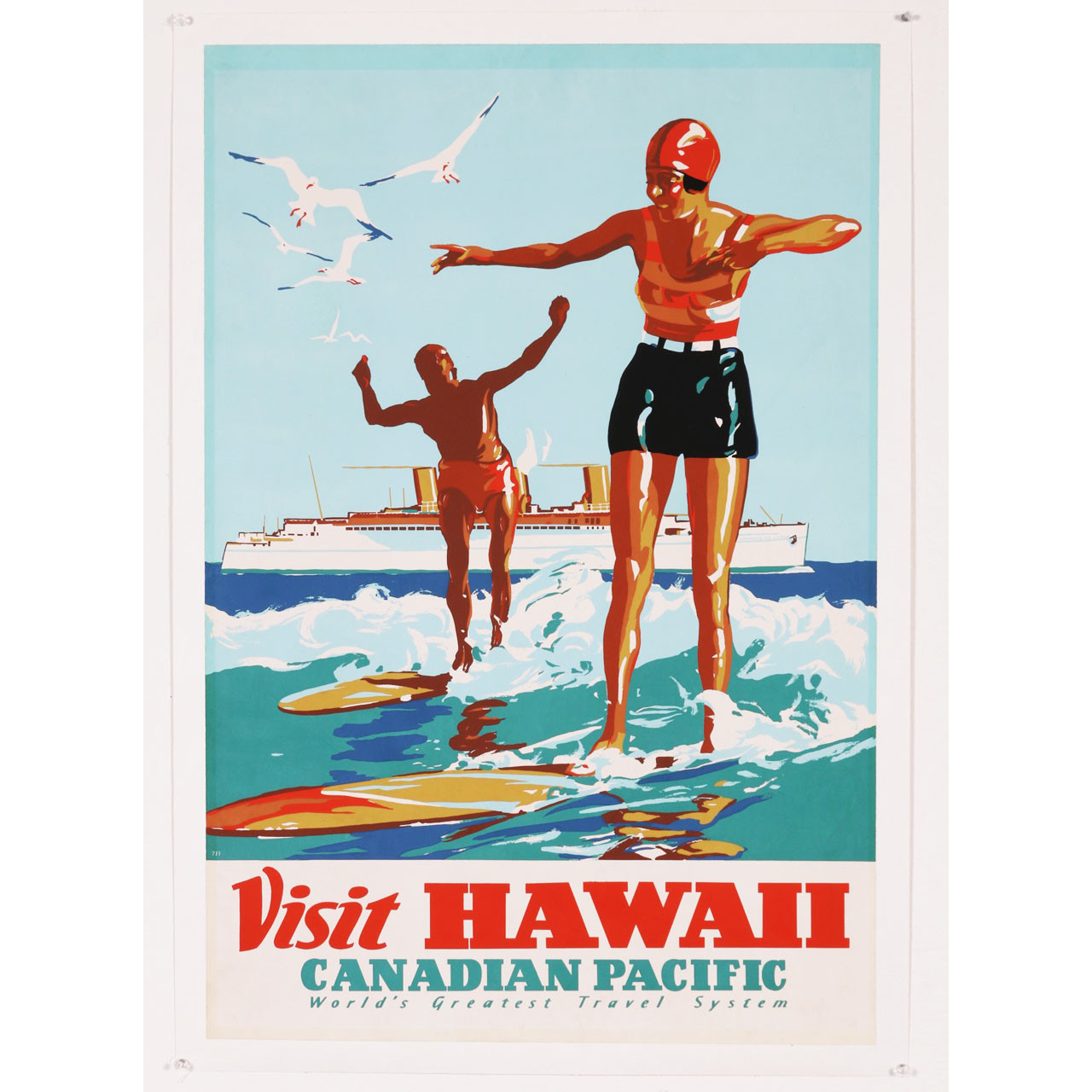Original Vintage Canadian Pacific Hawaii Surf Travel Poster 1930s
