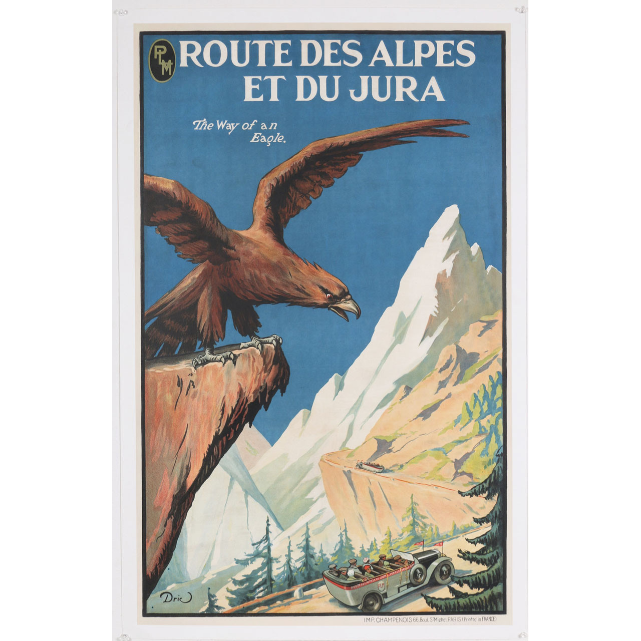 Original Vintage PLM Railway Travel Poster Route des Alpes et du Jura 1920s