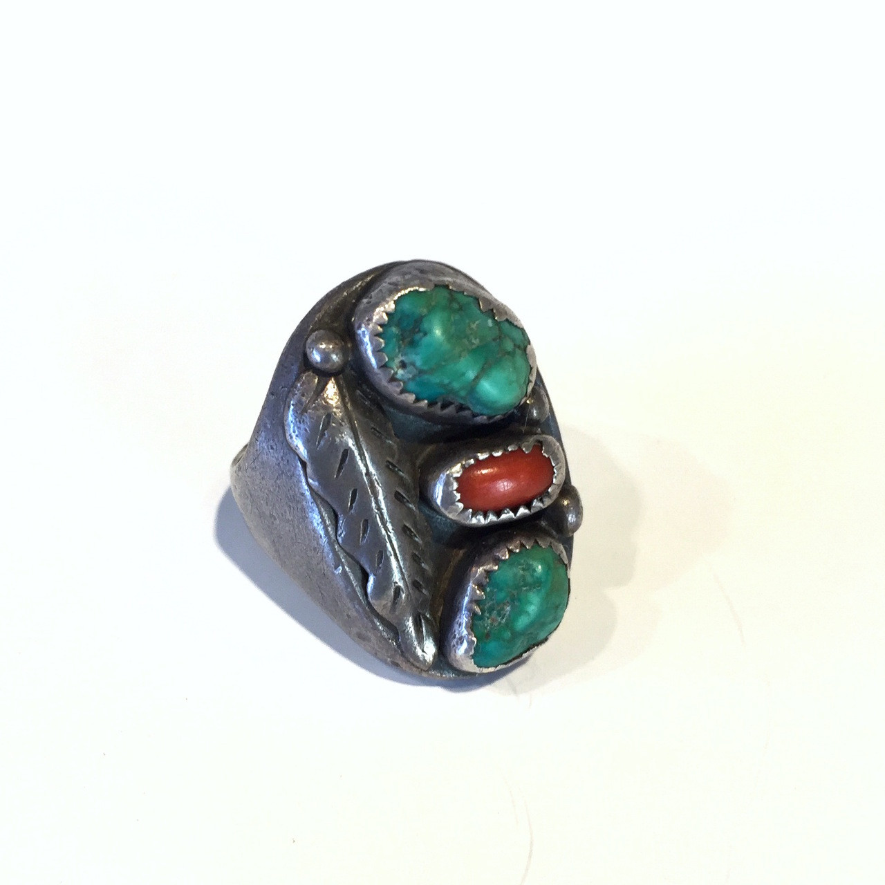 Navajo Silver, Turquoise and Coral Ring, Size 11