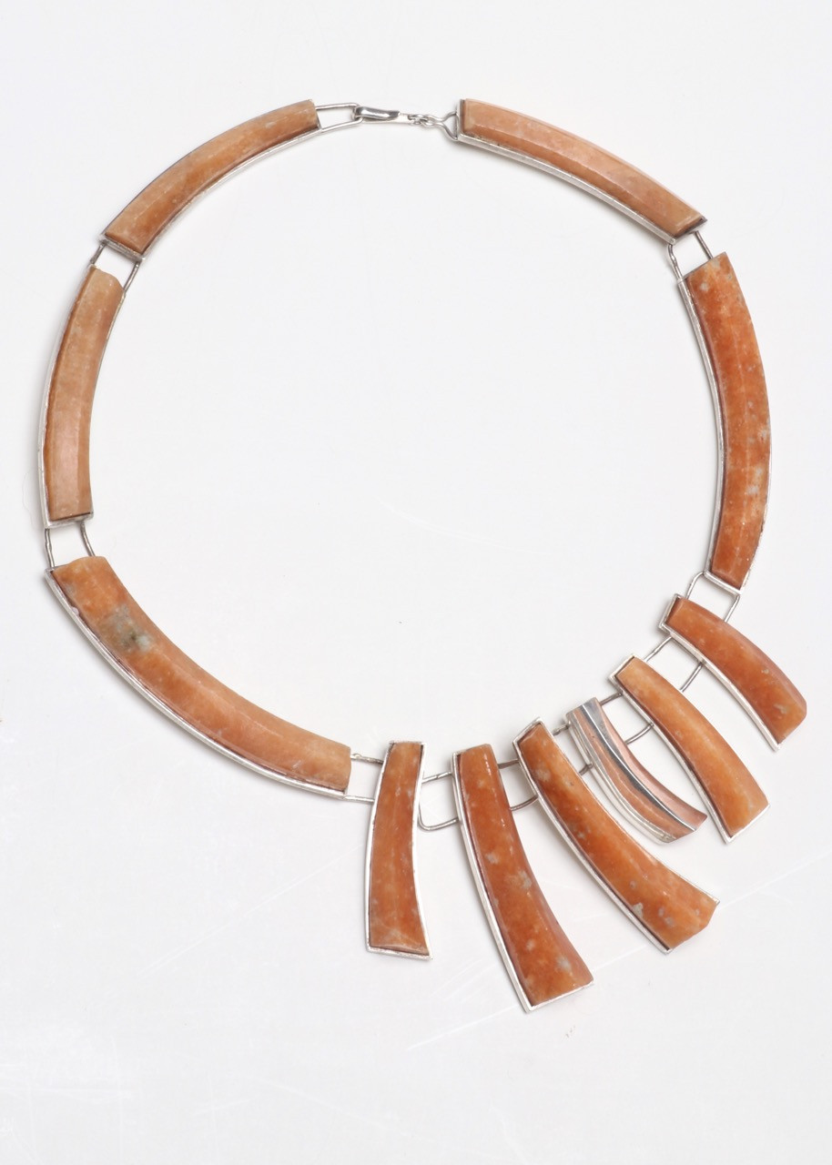 Sterling Silver and Orange Agate Necklace, 1970