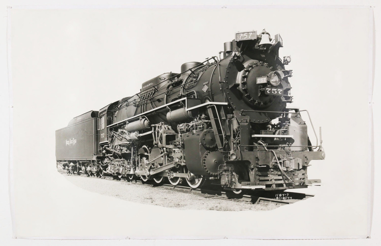 1940s train black and white photograph engine 757 original vintage oversize