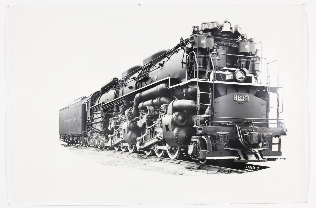 1940s Chesapeake & Ohio Locomotive Train #1633 Black and White Photograph,  Original, Oversize