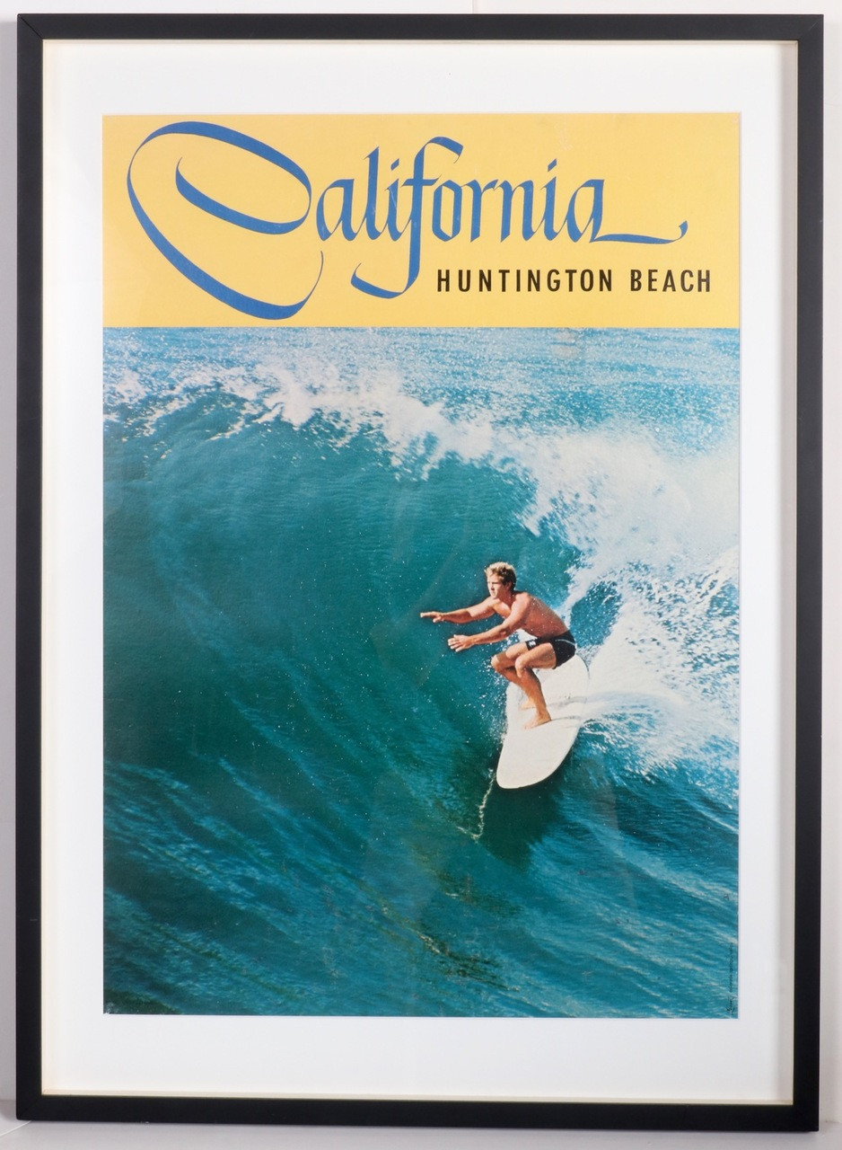 Huntington Beach California 1960s Surf Poster, Framed