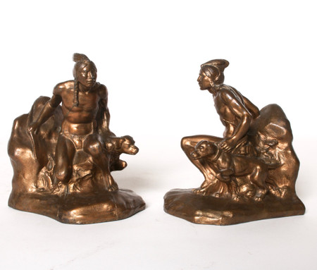 Indian and Dog Bookends circa 1930s
