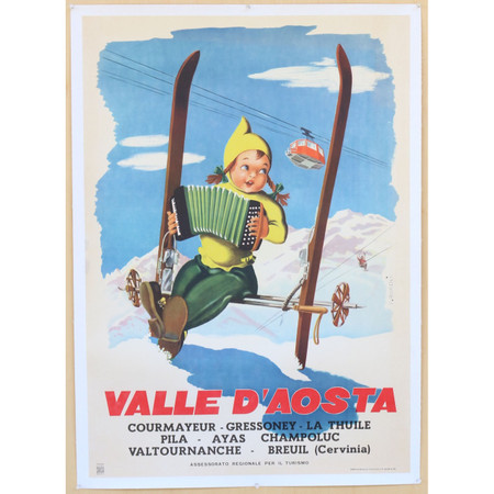 Ski Valle D'Aosta Italian Travel Poster