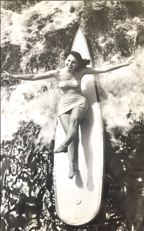 Girl on Surfboard, Unpublished Catalina Swimwear Photo, Framed