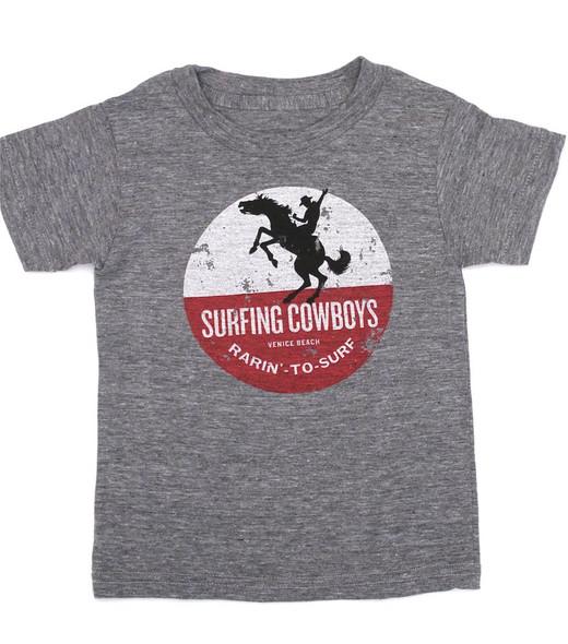 Rarin' to Surf Surfing Cowboys T-Shirt Kids