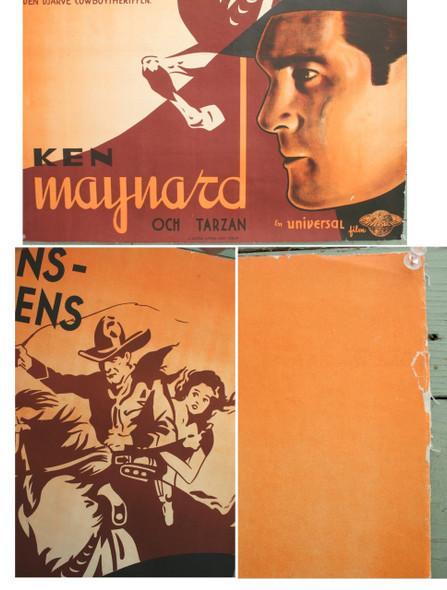 Swedish Ken Maynard Western Movie Poster 1930s