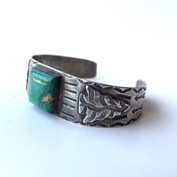 Vintage Navajo Turquoise Arrowhead Cuff Bracelet