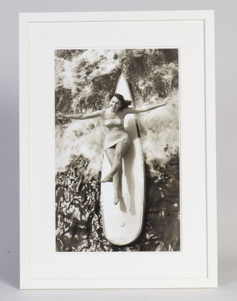 Woman on Surfboard, Catalina Swimsuit Photo, Framed