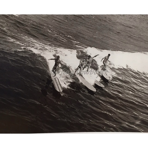 Four Wave Riders on Wood Boards Black and White Surf Photo Manhattan Beach c. 1930s
