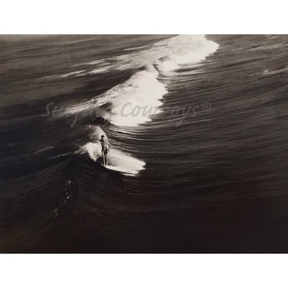 Surfer on Wide Wave Black and White Surf Photograph, Framed