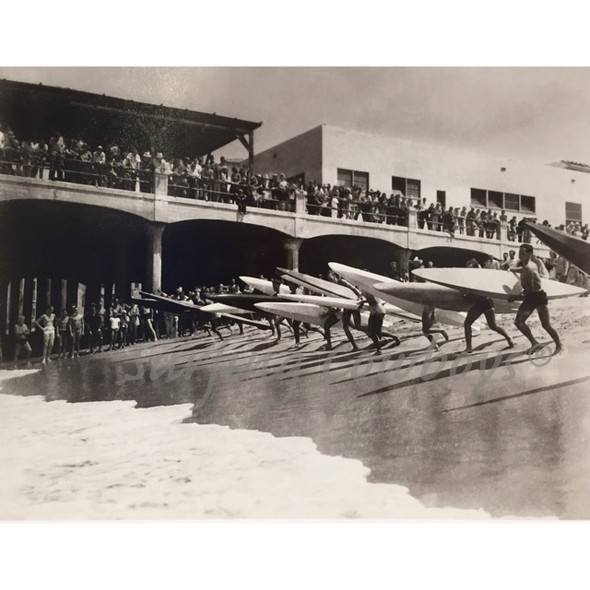 "Hermosa Beach Pier Paddleboard Race c.1930s, Framed 31"" W x 25 3/8"" H"