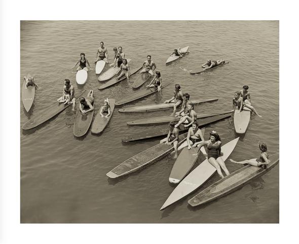 """Santa Monica Pier Paddleboard Posse 1940s, Framed 47.5"""" x 39.5"""" x 2"""""""