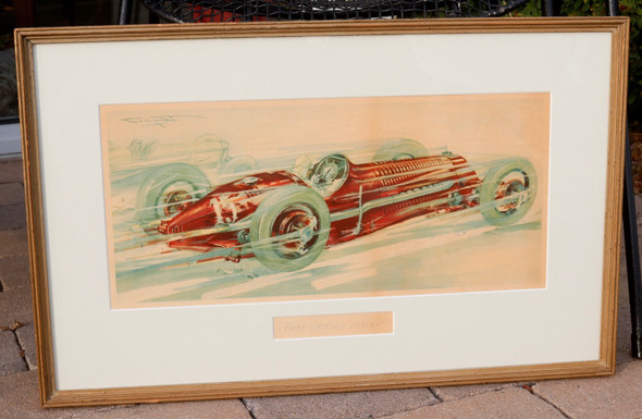 Original vintage Fiat 150cc c 1930s Lithograph offered as found in original wood frame with mat.