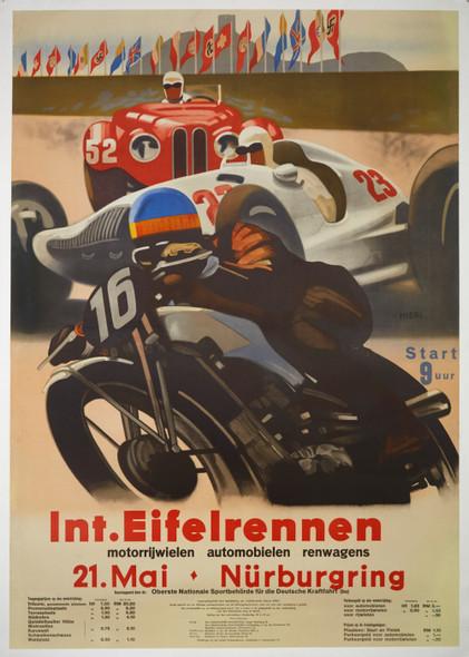 Int. Eifelrennen Nurburgring Poster 1937 - Authentic Original