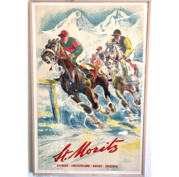 Snow Polo St Moritz Switzerland Original 1950s Travel Poster