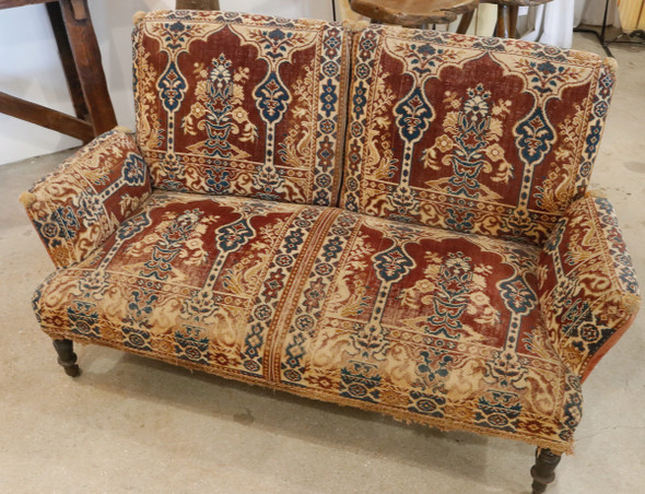 Upholstered Two-Seater Loveseat Setee Sofa French 1920s