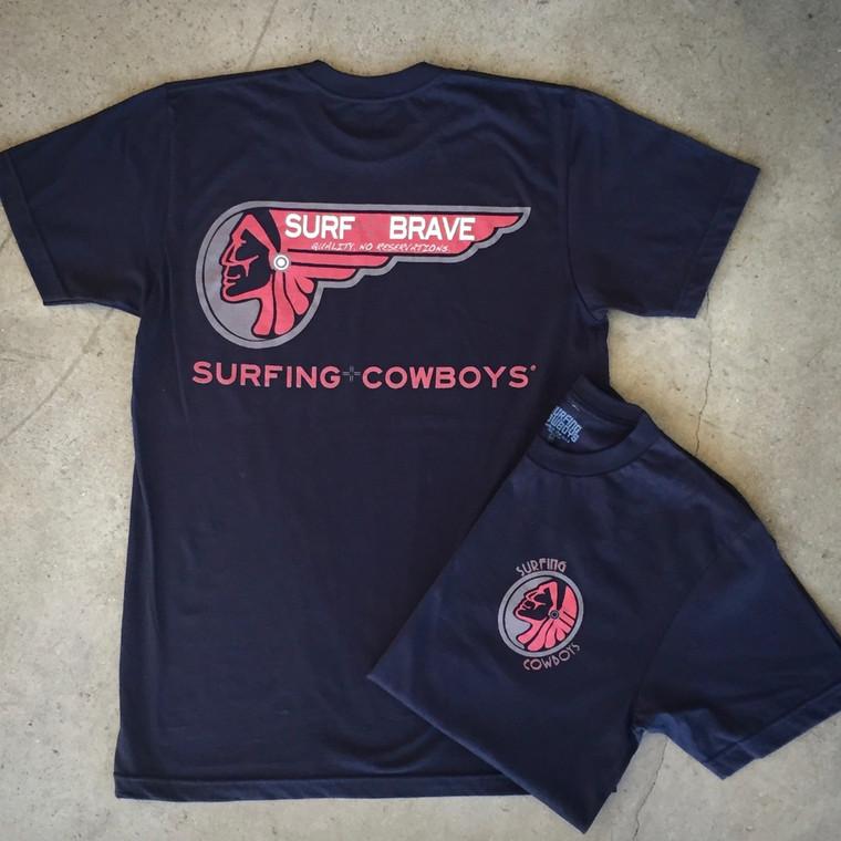 Surf Brave Surfing Cowboys Mens Cotton T-shirt Black