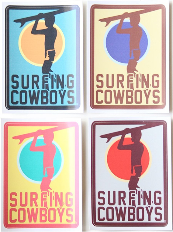 Set of 4 Surfing Cowboys Surfer Stickers