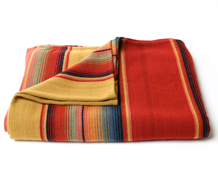 Merino Wool Serape Blanket Red Mustard