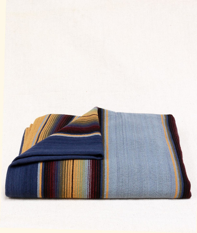 Merino Wool Serape Blue on Blue