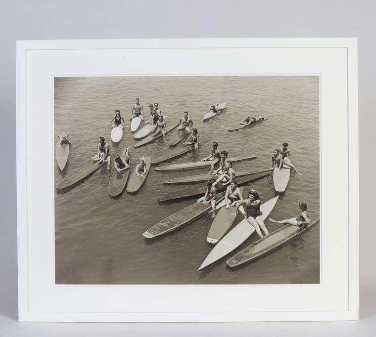 """Santa Monica Pier Paddleboard Posse 1940s, Framed 30"""" x 24"""""""