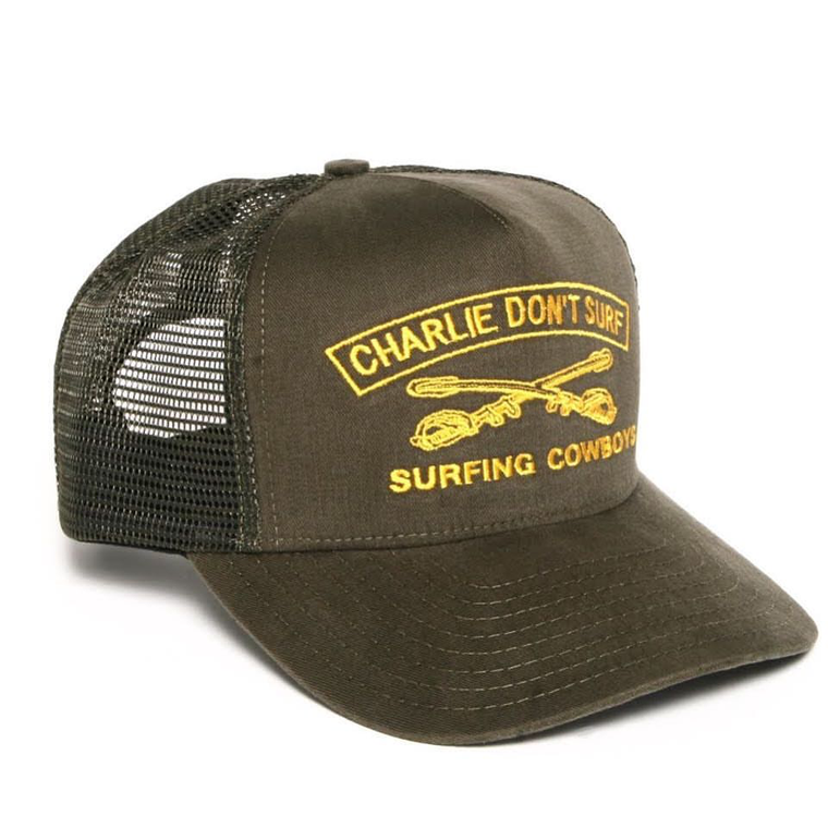 Charlie Don't Surf Trucker Hat, Army Green/Gold