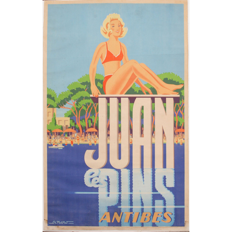 Mid-Century Juan le Pins Antibes Travel Poster 1940s