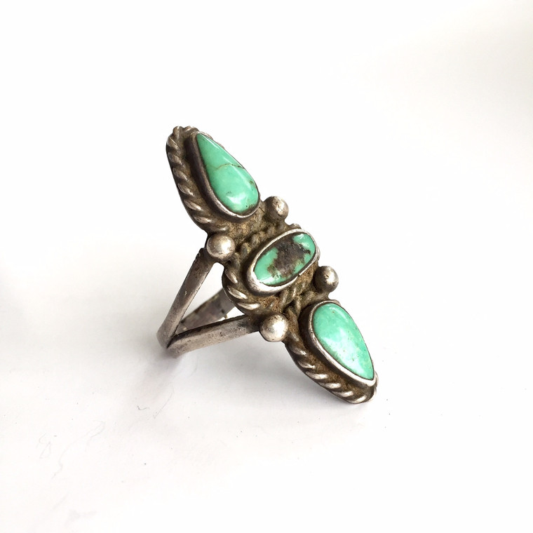 Native American Silver and Turquoise Three Stone Ring, Size 9