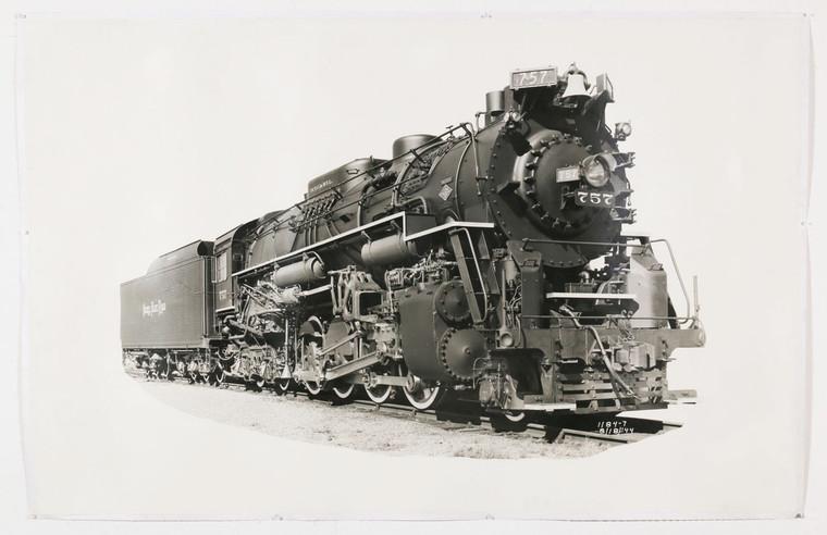 1940s Nickel Plate Road Locomotive Train Black and White Photograph, Engine 757, Original, Oversize