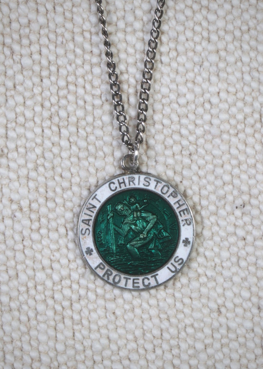 St Christopher Pendant Green and White, Vintage