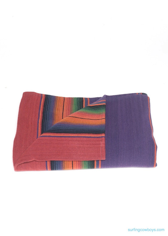 Merino Wool Serape Blanket Fuschia and Violet - Pre-order